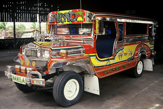 A Jeepney, a public transportation vehicle unique