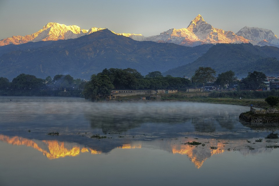 Mountains Annapurna (left) and Machapuchare (right)