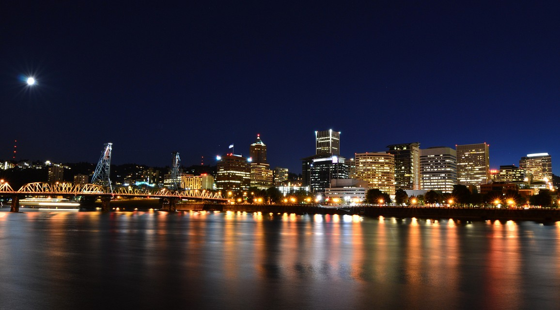 Downtown at Night - Portland, Oregon - Portland