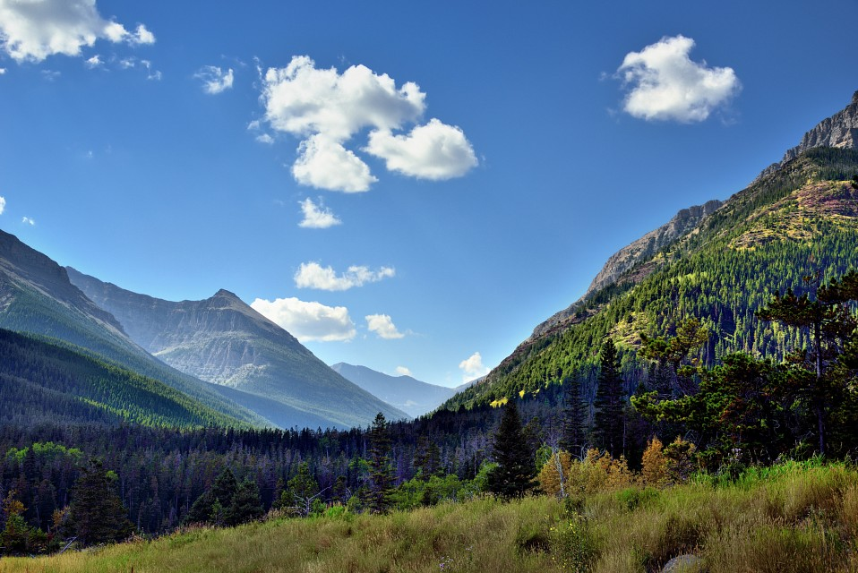A Look through a Valley in Waterton Lakes National Park - Red Rock Canyon