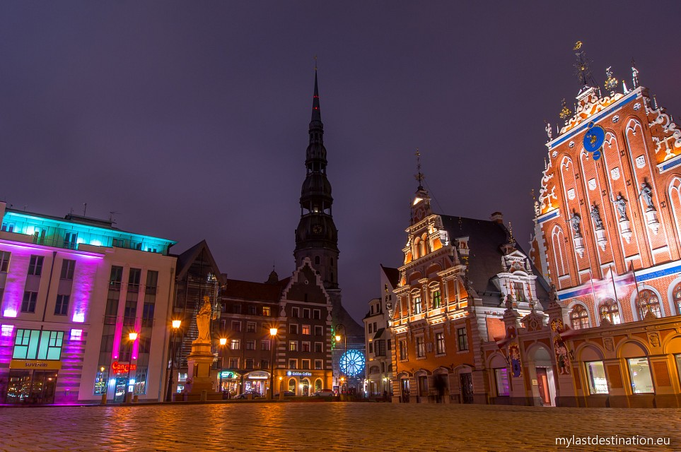 Riga's Town Hall square at night - Riga