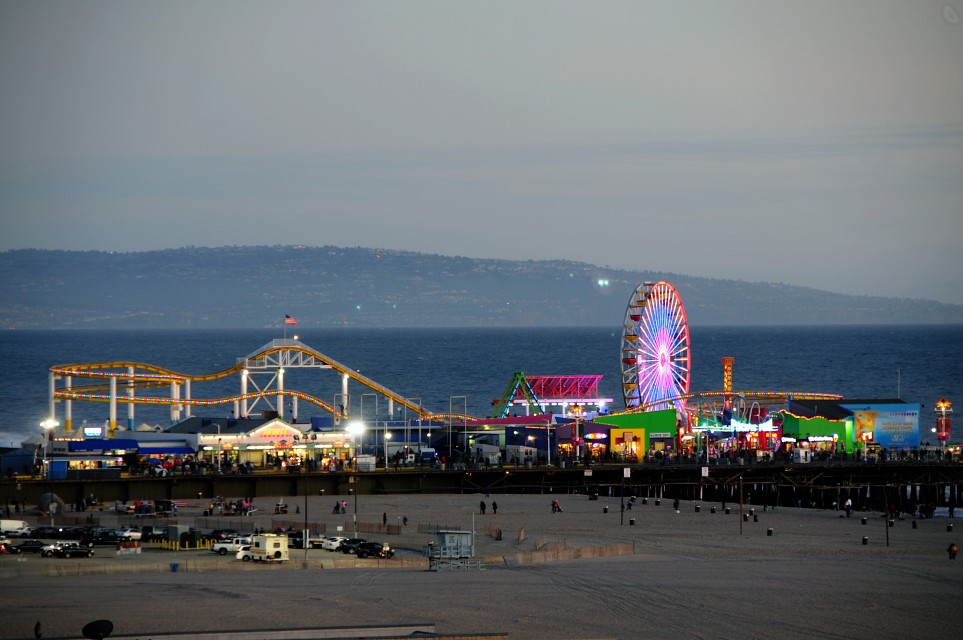 Santa Monica Pier at sunset - Santa Monica Pier