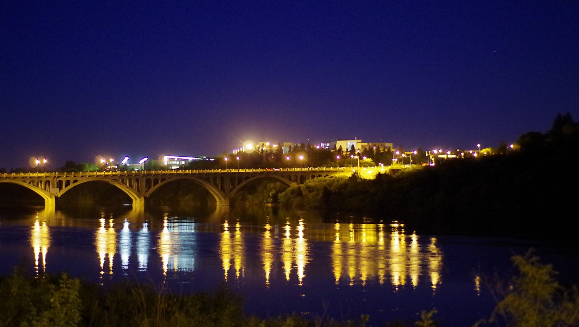 University Bridge at Night - Saskatoon