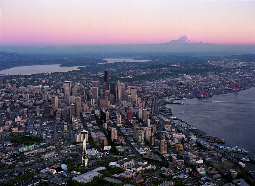 Aerial of downtown and Mount Rainier at sunset, 2000 - Seattle