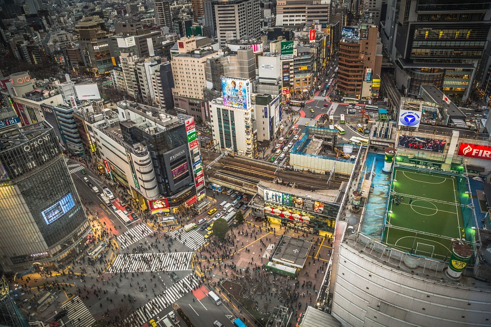 Aerial View Over Shibuya Crossing In Japan - Shibuya Crossing