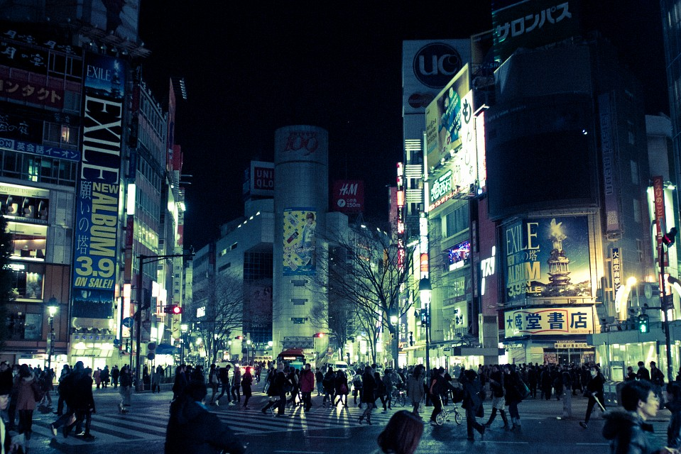Shibuya crossing at night - Shibuya