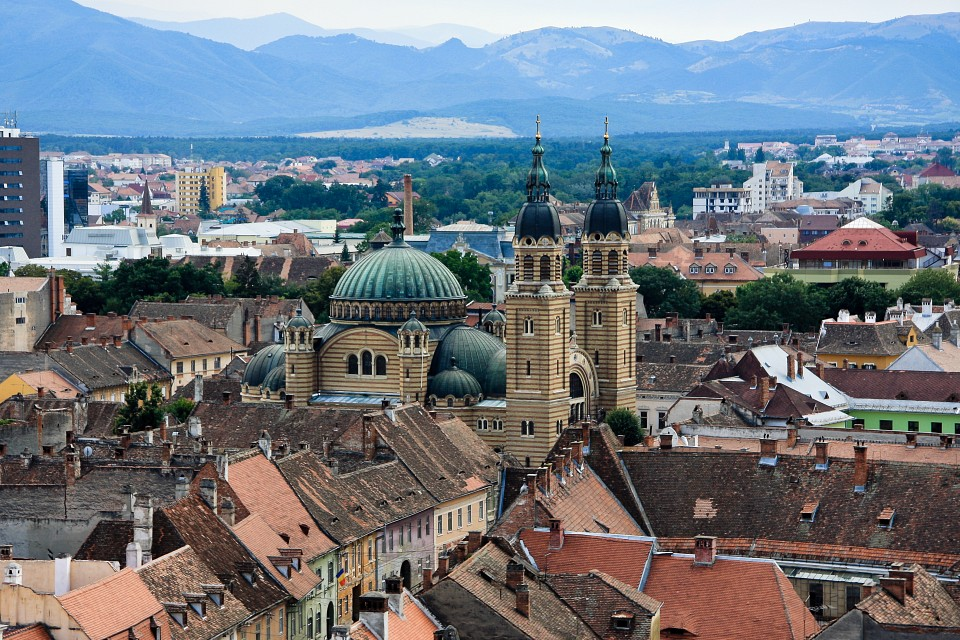 Orthodox Cathedral captured from clock tower - Sibiu