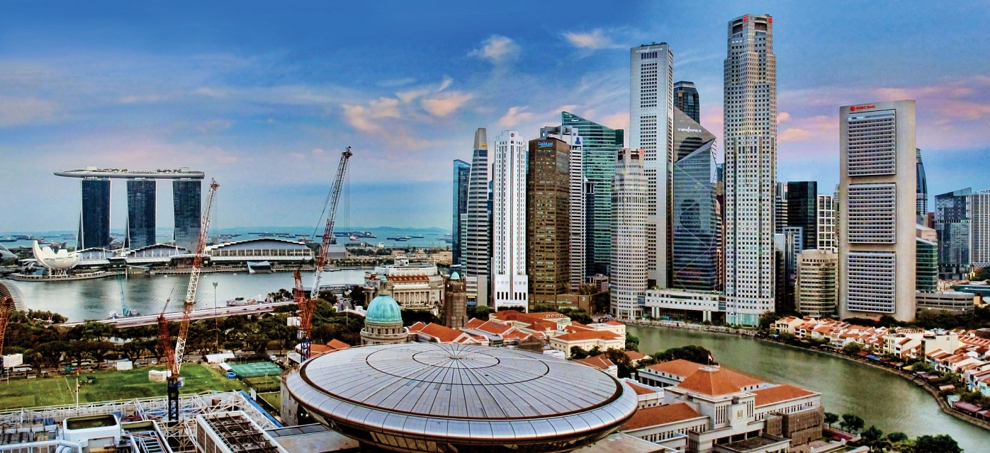 Over the foreground (far left below), developments underway  to transform the old Cityhall to become Home of Visual Arts - Singapore