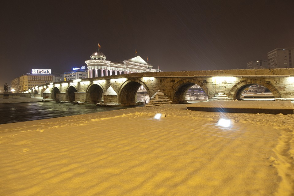 Stone Bridge in Snow - Skopje
