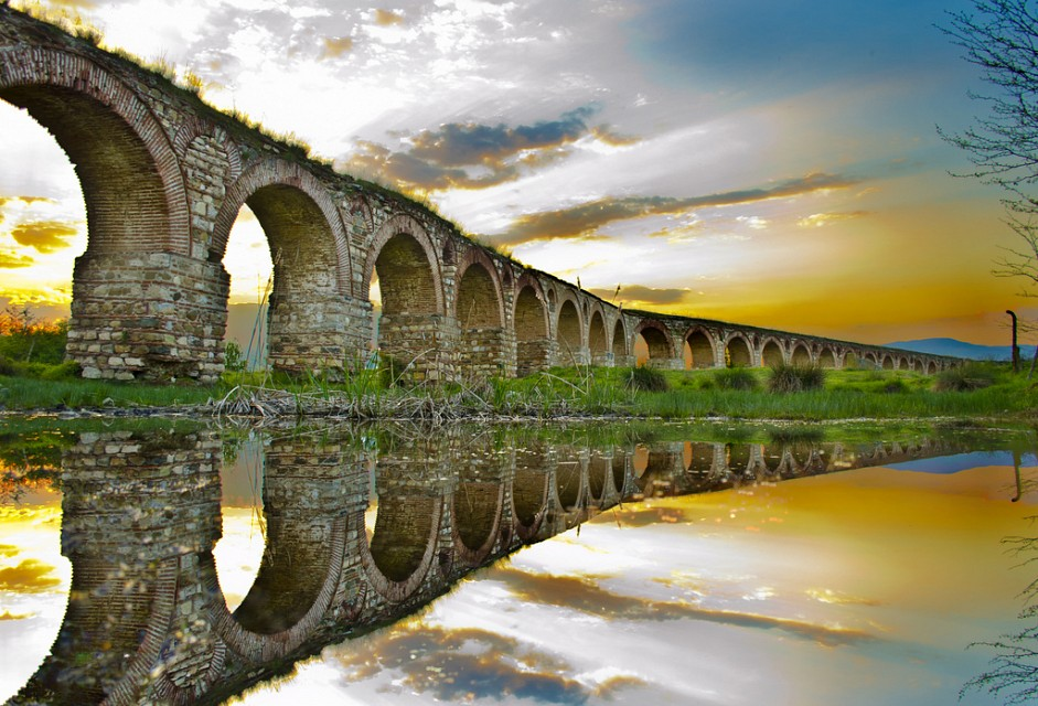 Sunset reflection - Skopje Aqueduct
