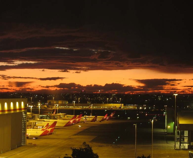Sunset clouds over the Qantas Domestic Terminal -Sydney Airport - Sydney Kingford-Smith International Airport