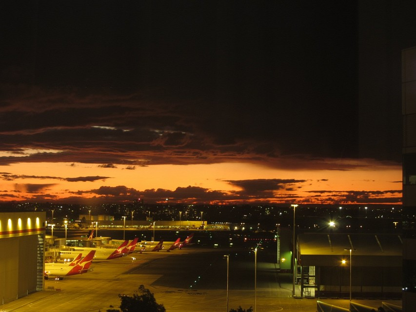 Orange sky over Sydney Airport - Sydney Kingford-Smith International Airport