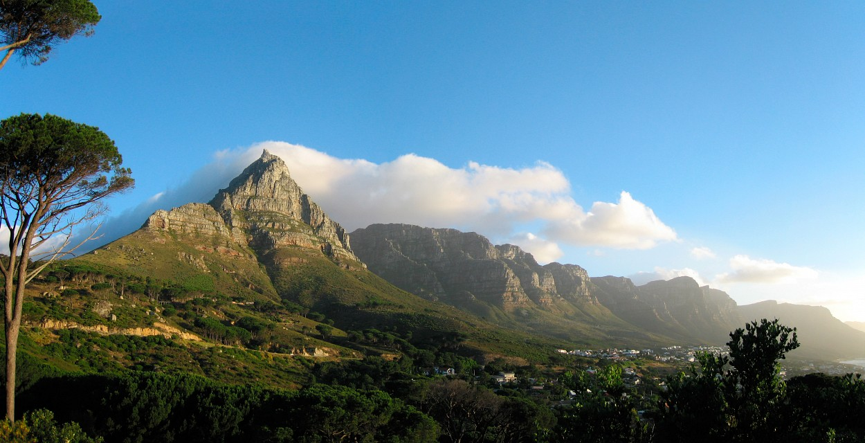 Peaks in Beautiful Evening Light Panorama, Table Mountain National Park, South Africa - Table Mountain National Park
