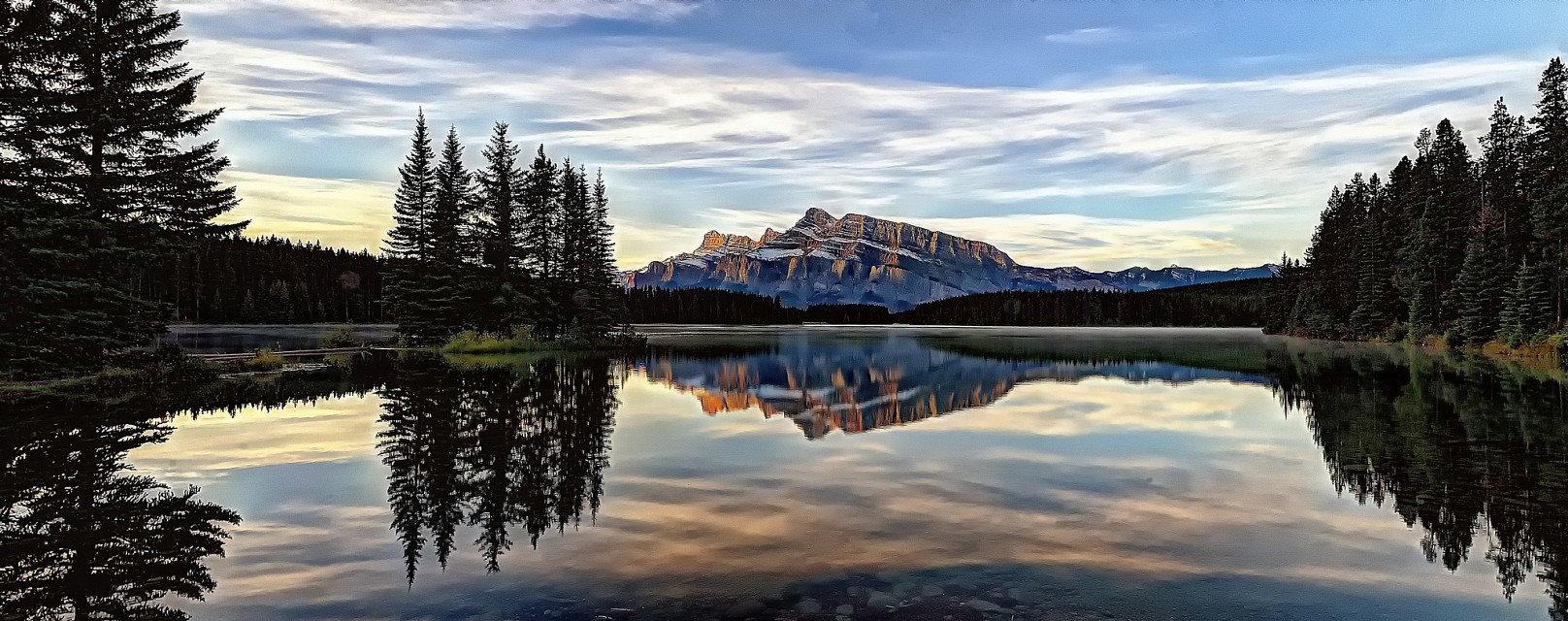 Sunrise on Mount Rundle from Two Jack Lake - Two Jack Lake