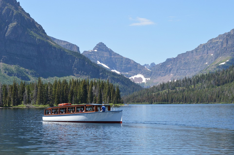"The ""Sinopah"" on Upper Two Medicine Lake - Upper Two Medicine Lake"