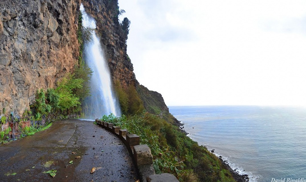 Waterfall Highway. Road in Madeira, Portugal