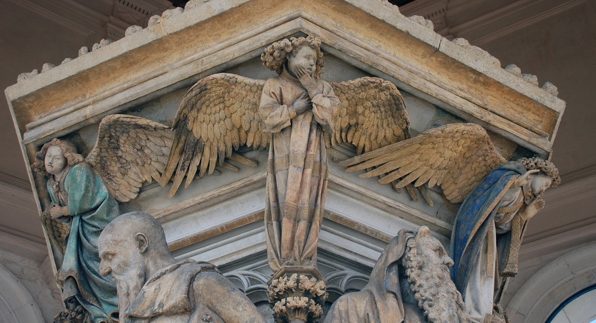 Detail of Angel: Claus Sluter, Well of Moses, 1395-1405 - Well of Moses