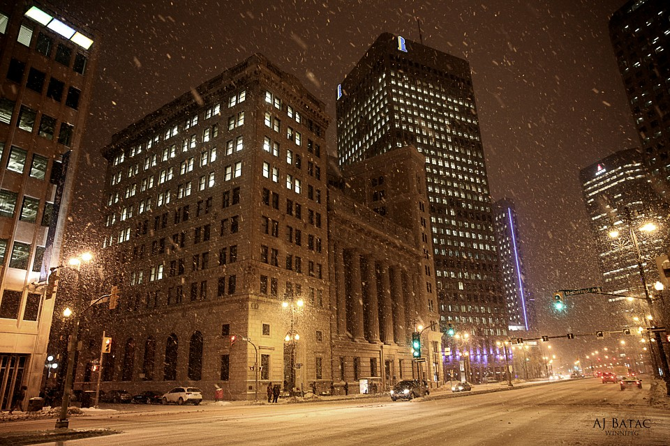 Snow and windy nightscape - Winnipeg