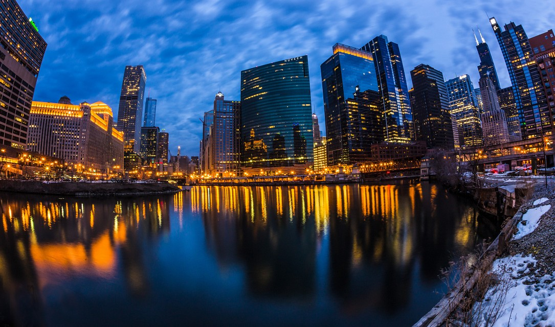 Wolf Point Chicago at Blue Hour - Chicago