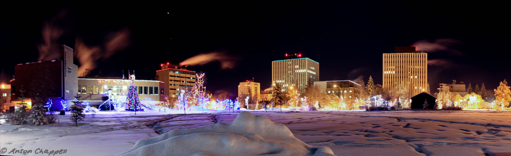 City Hall is decorated for Christmas - Yellowknife