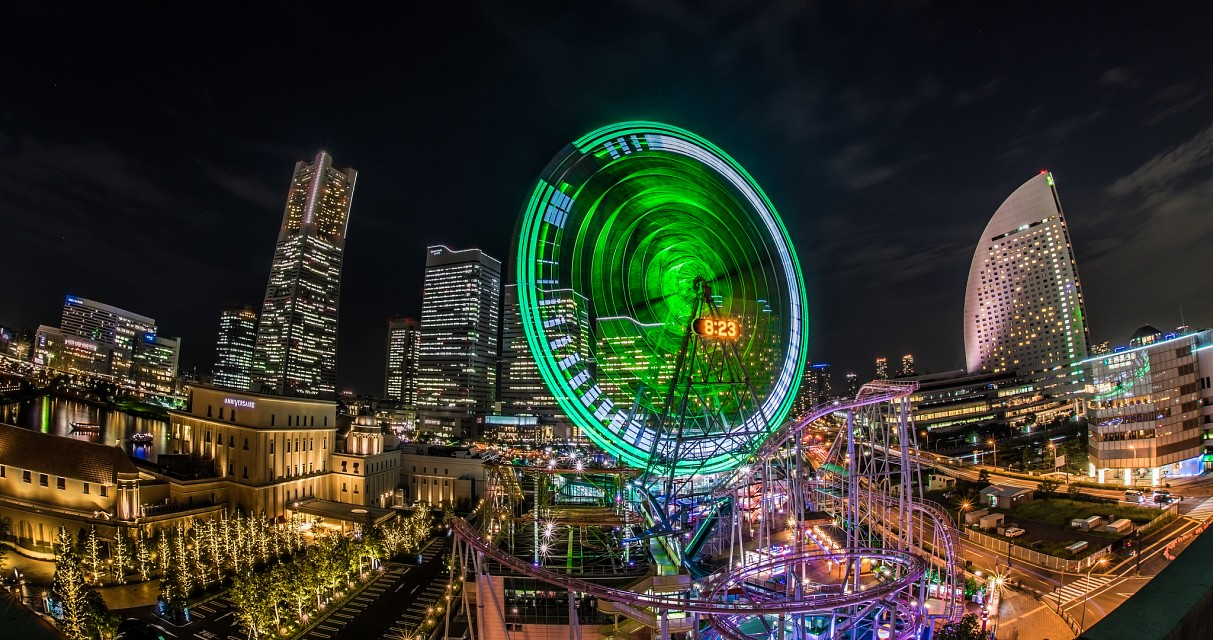 Panoramic night view of Minatomirai, Yokohama - Yokohama